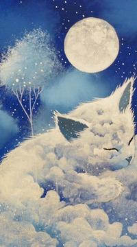 Аватар вконтакте Спящий облачный котенок на фоне полной луны, ву raphael vavasseur