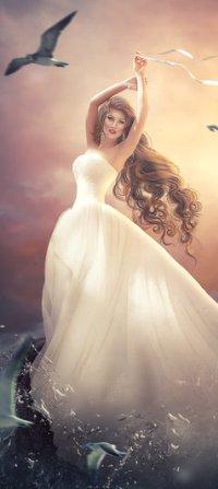c8b502ccdc4 Аватар вконтакте Девушка в белом длинном платье и чайки над ней