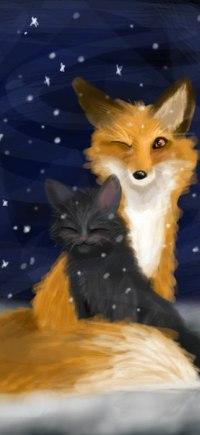 Аватар вконтакте Лиса и котенок под падающим снегом, by zoradraws