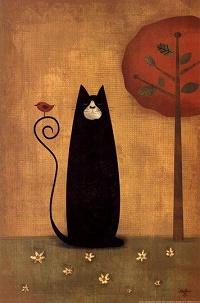 Аватар вконтакте Черный кот, на хвосте которого сидит птица