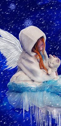 Аватар вконтакте Девочка - ангел с котенком