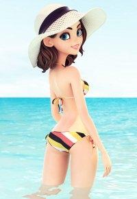 Аватар вконтакте Девушка в шляпке стоит в воде