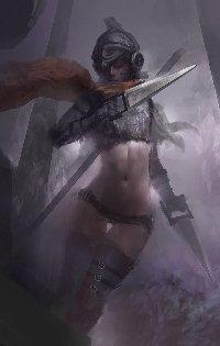 Аватар вконтакте Стройная девушка-воин с кинжалами на поле боя