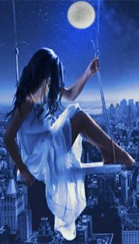 Аватар вконтакте В ночь полнолуния девушка сидит на качелях над небоскребами большого города