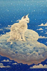 Аватар вконтакте Облачный котенок сидит на облачном сердечке, by Raphael Vavasseur