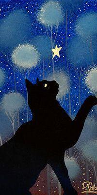 Аватар вконтакте Черный кот смотрит на звезду, by Raphael Vavasseur