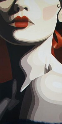 Аватар вконтакте Лицо девушки с губами. накрашенными в виде сердечка