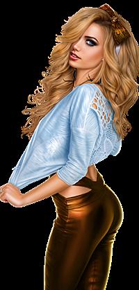 Аватар вконтакте Девушка - блондинка оттягивает голубую кофточку