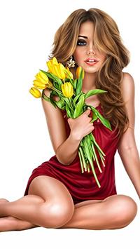 Аватар вконтакте Девушка в красном платье сидит с букетом желтых тюльпанов в руке