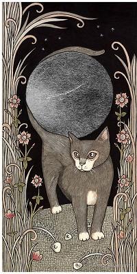 Аватар вконтакте Кошка среди травы хвостом обвила луну