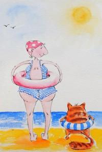 Аватар вконтакте Девушка и кот с надувными кругами идут купаться в море, by Elina Ellis