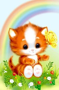 Аватар вконтакте Бело-рыжий котенок на котором сидит желтая бабочка сидит на лужайке с ягодами земляники