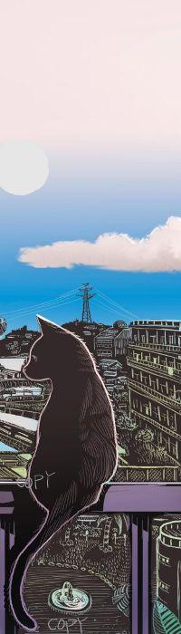 Аватар вконтакте Кошка сидит на фоне города