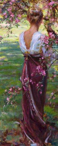 Аватар вконтакте Девушка стоит у цветущего весеннего дерева, художник. Daniel F. Gerhartz