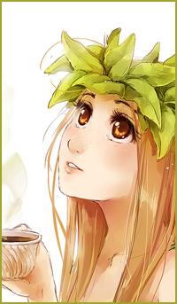 Аватар вконтакте Девушка с листьями на волосах держит в руке кружку с чаем, by Meago