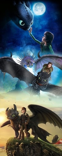 Аватар вконтакте Иккинг / Hiccup со своим драконом Беззубиком / Toothless, мультфильм Как приручить дракона 2 / How to Train Your Dragon 2