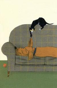 Аватар вконтакте Кошка тянет за ухо спящую собаку, by Wolf Erlbruch