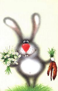 Аватар вконтакте Кролик с букетом ромашек и морковкой в лапах, художник Лев Барсенев