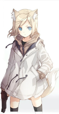Аватар вконтакте Неко девушка со светлыми волосами в белой куртке держит в руке оружие