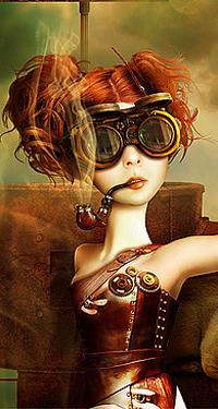 Аватар вконтакте Техно-девушка в старинных автомобильных очках курит трубку, by LLen29