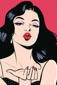 Аватар вконтакте Девушка с темными волосами и красной помадой посылает воздушный поцелуй