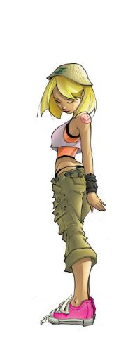 Аватар вконтакте Девушка со светлыми волосами в шапочке, майке, штанах и розовых кедах, с татуировкой в виде смайлика на плече