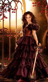 536599554fa Аватар вконтакте Девушка в коричневом длинном платье стоит у ограды с мечом  вруке