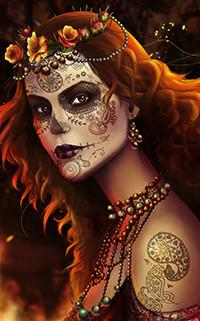 Аватар вконтакте Рыжеволосая девушка с татуированным лицом и венком из цветов на голове