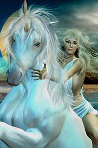 Аватар вконтакте Блондинка в голубой одежде верхом на белом единороге