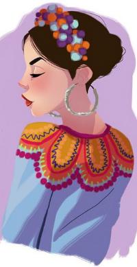 Аватар вконтакте Девушка с темными волосами, венком на голове, большими сережками в ушах, by Pernille Ørum
