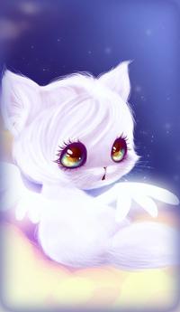 Аватар вконтакте Белый котенок с крылышками за спиной сидит на облаке