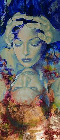 Аватар вконтакте Мужчина и женщина обнимают друг друга, среди абстракции, by inspiredcreativity