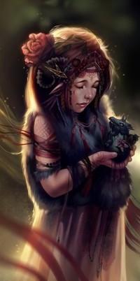 Аватар вконтакте Девушка с розой в волосах держит в руках маленького дракончика