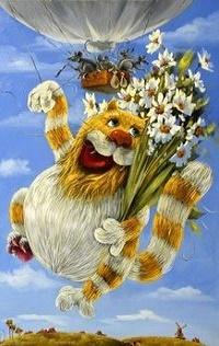 Аватар вконтакте Смешной кот с букетом ромашек летит в небе