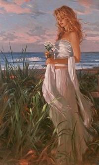 9781e7cb6e2 Аватар вконтакте Девушка в длинном платье с цветами в руках стоит на фоне  моря