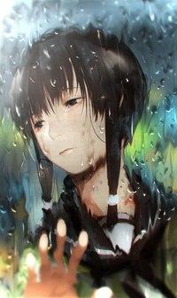 Аватар вконтакте Девушка за стеклом с каплями дождя