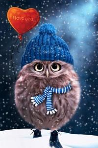 Аватар вконтакте Сова в вязанной шапке, с шариком в виде сердечка, (I love you / я люблю тебя), by Nataly1st