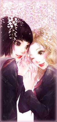 Аватар вконтакте Две девушки стоят под цветущим деревом глицинии