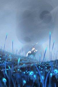 Аватар вконтакте Воин с копьем верхом на белом волке среди поляны с голубыми растениями