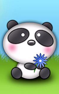 Аватар вконтакте Панда сидит на траве держит цветок