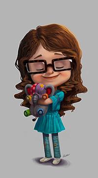 Аватар вконтакте Девочка с длинными волосами, в очках, с закрытыми глазами, в голубом платье держит в руках игрушечного слоника