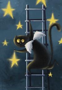 Аватар вконтакте Кот с крылышками стоит на лестнице и прикрепляет звезды на небо, иллюстратор Карина Лемешева