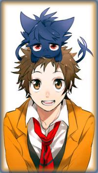 Аватар вконтакте Махиру Широта / Mahiru Shirota и вампир Куро / Kuro в образе кота, персонажи из аниме Сервамп / Servamp
