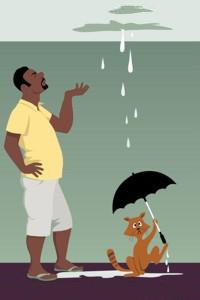 Аватар вконтакте Мужчина смотрит на потолок, с которого льется вода на кота под зонтом, by Aleutie