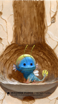 Аватар вконтакте Голубой дракончик сидит в дупле дерева, исходник by Kei-Acedera