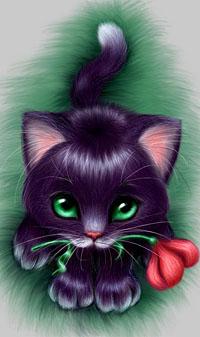 Аватар вконтакте Котик с зелеными глазками держит во рту алый тюльпан, художница Олеся Гавр