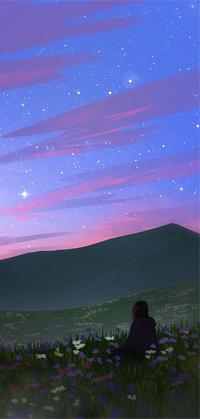 Аватар вконтакте Девушка сидит на поляне среди цветов и смотрит в ночное небо