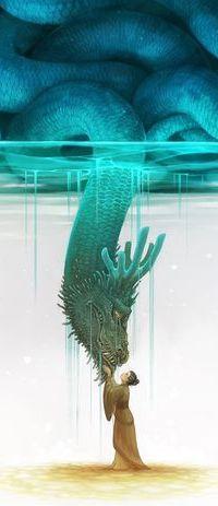 Аватар вконтакте Восточная девушка в национальной одежде, стоя на дне, протянула руки к огромному дракону