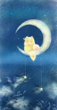 Аватар вконтакте Кот и пушистый зверек сидят на месяце и рыбачат