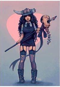 Аватар вконтакте Девушка в чулках и шлеме викингов с оторванной головой на копье